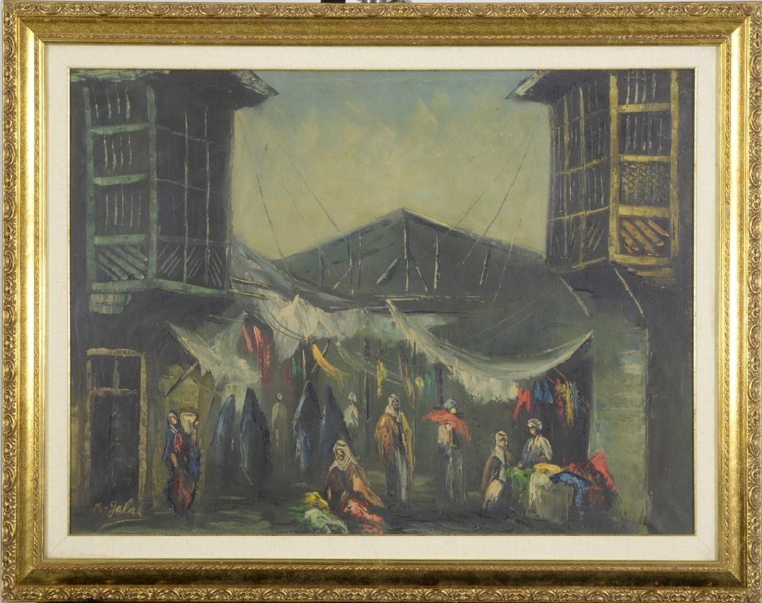 Marketplace in Turkey, Artist Unknown, Oil on Canvas