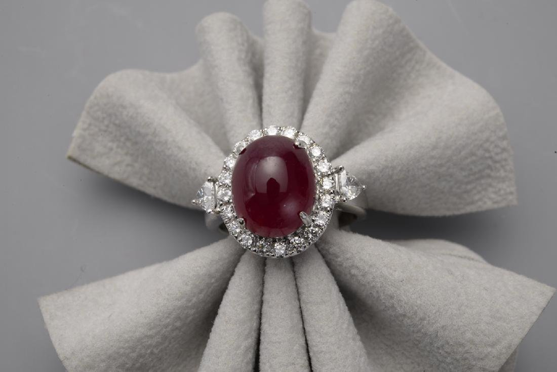Cabochon Oval Ruby Ring with Diamonds