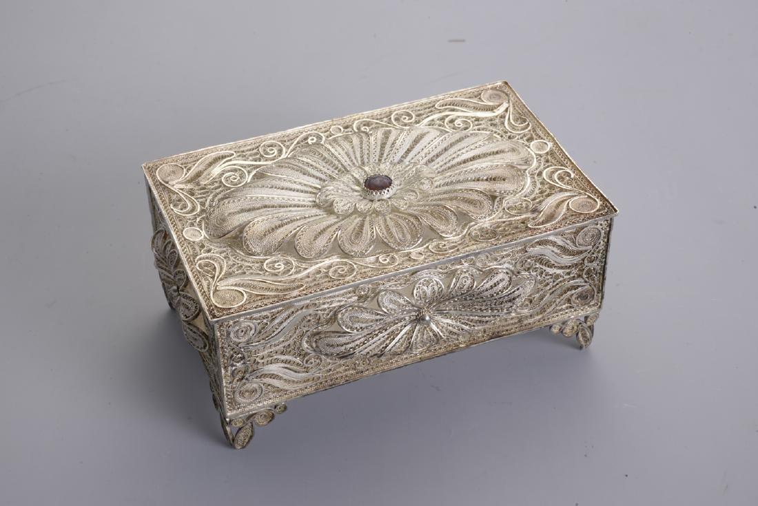 Silver Filigree Antique Box  floral Pattern 250 grams