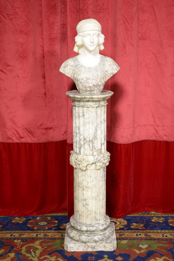 Marble Italian Bust on Pedestal