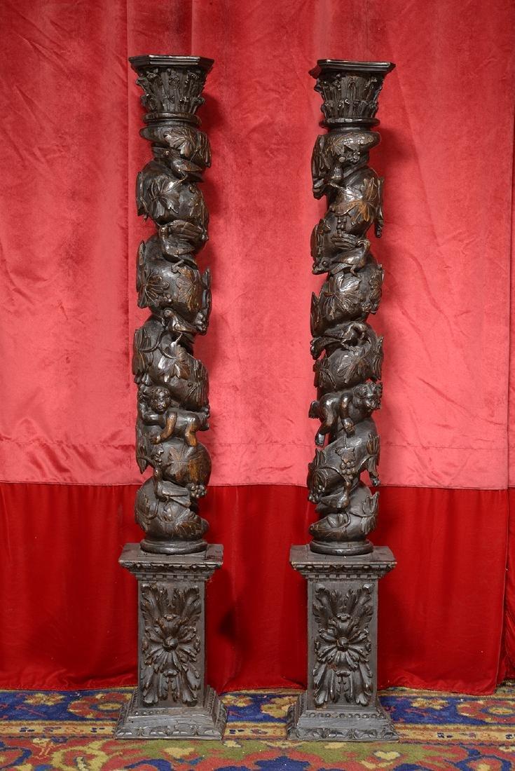 17th Century Ornate Wood Columns