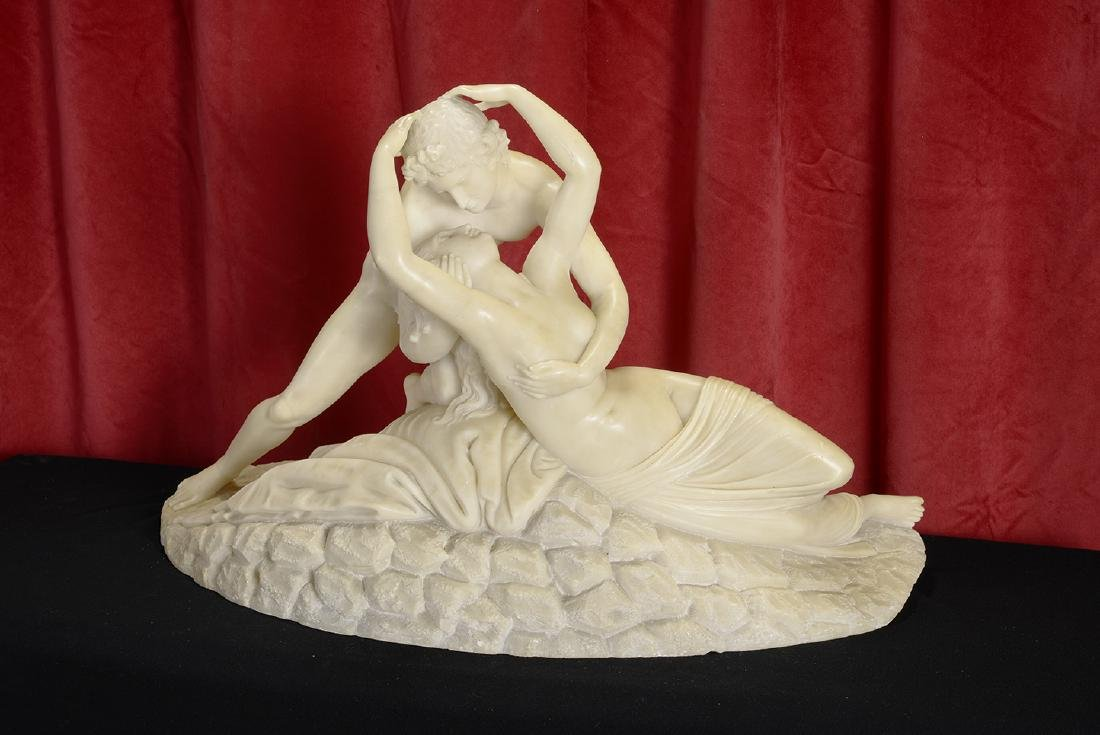 Alabaster Sculpture of Nude Man and Woman in a