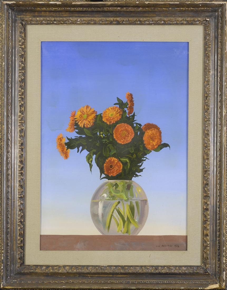 Aldo Pagliacci (1913-1991) Zinnias, Oil on Canvas