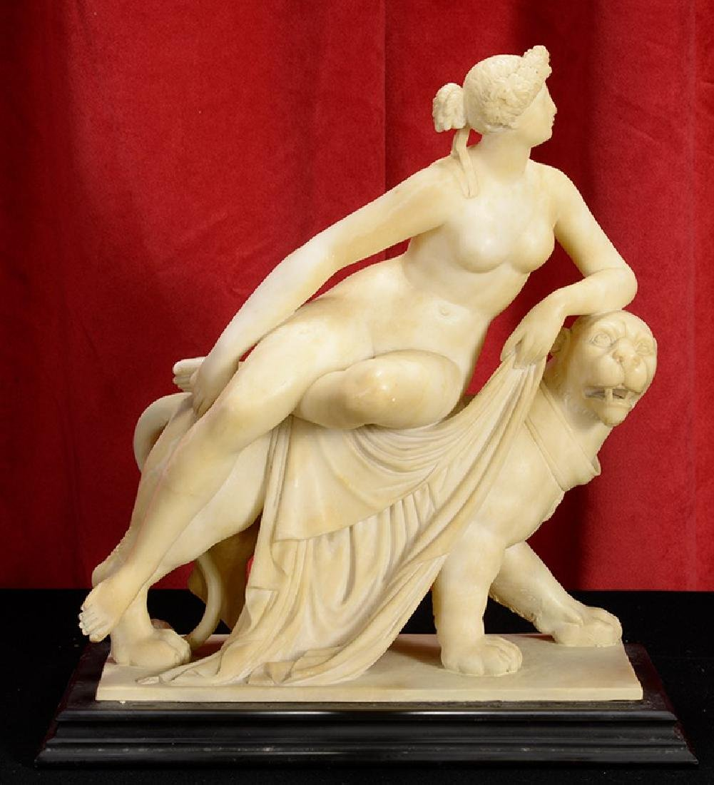 German Alabaster Sculpture of Ariadne & the Panther