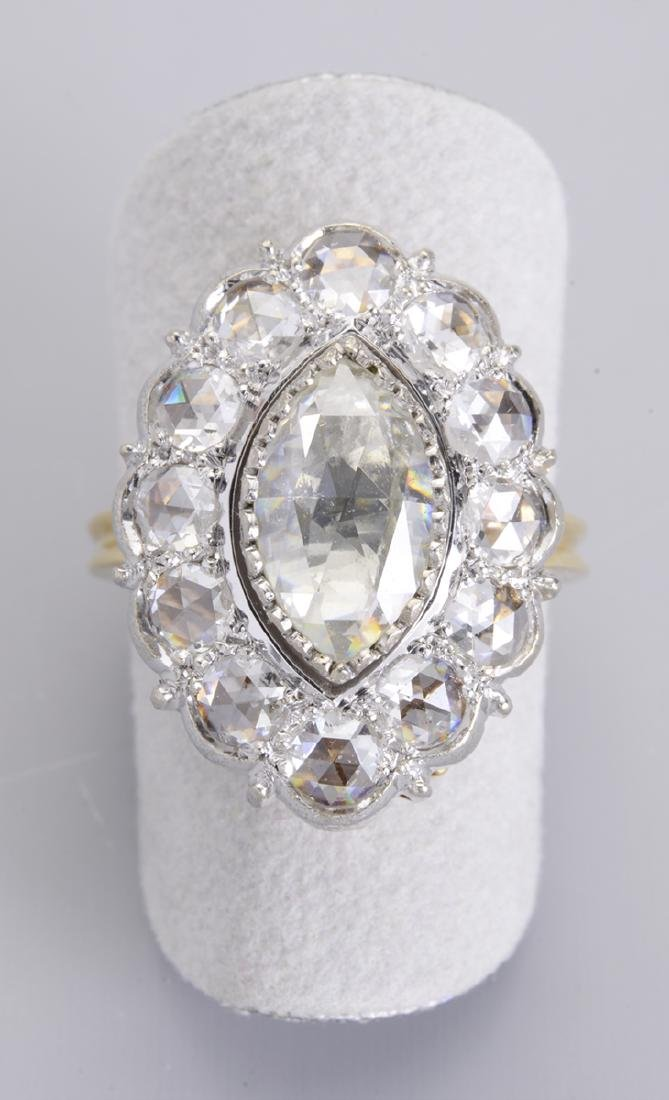 An Antique Diamond Ring with 12 Old Mined Diamonds &