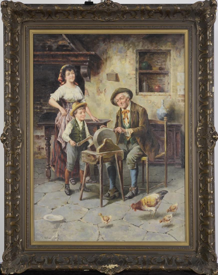 J. Hellwig, Oil on Canvas, Knife Sharpener at Wheel