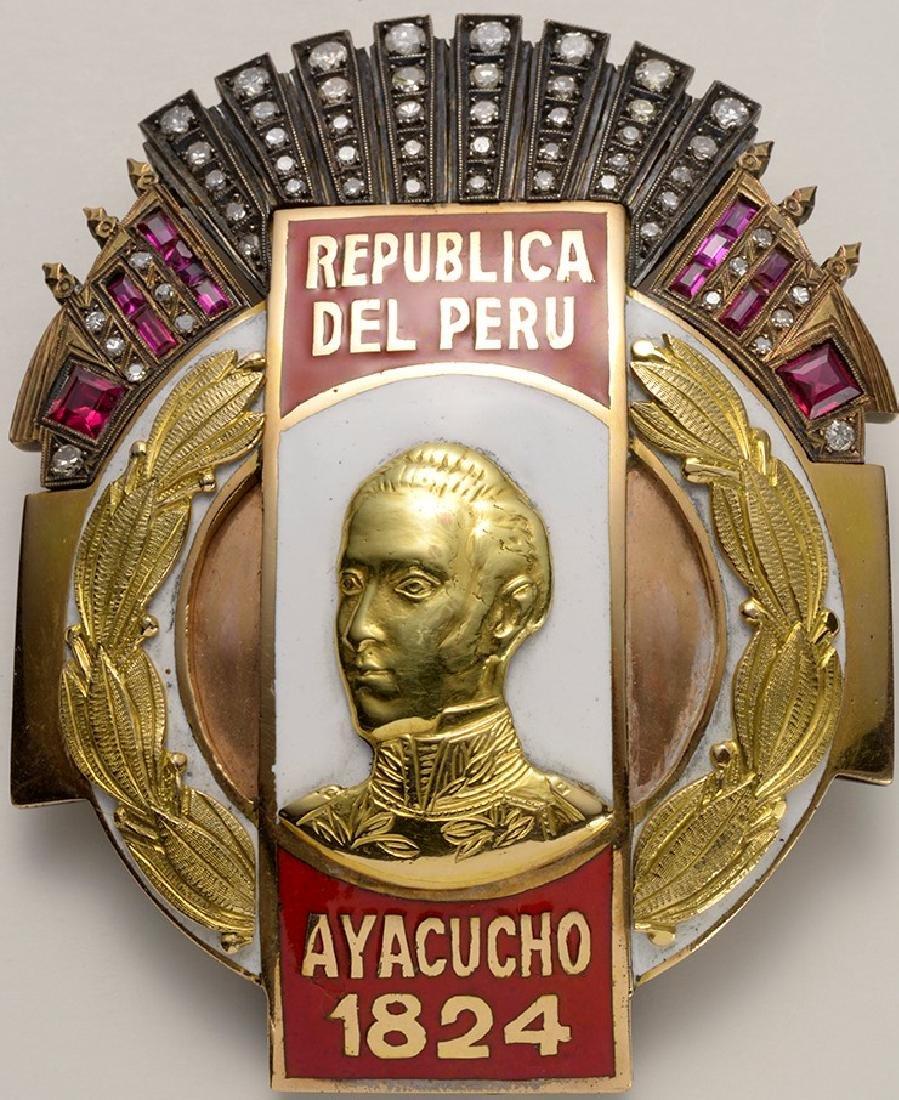 Republica Del Peru, Ayacucho, 1848 Metal of Honor Gold,