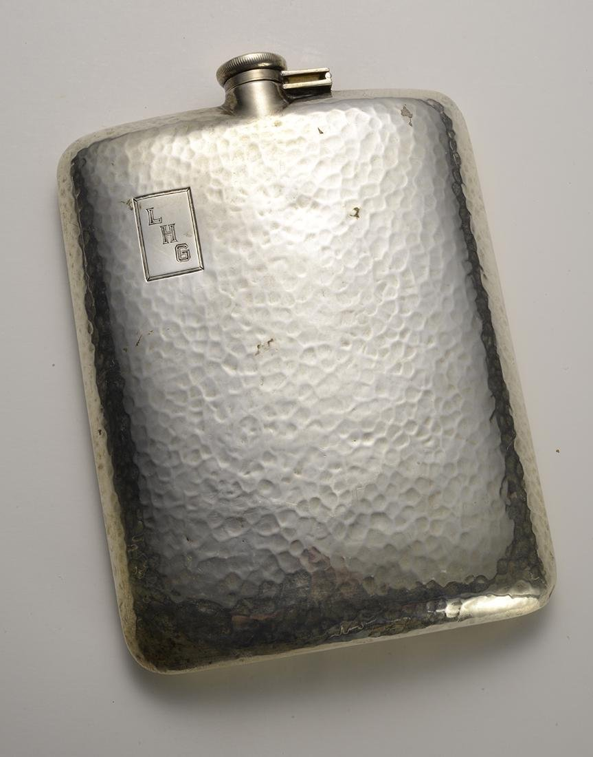 Antique Curved Silver Flask 1920's