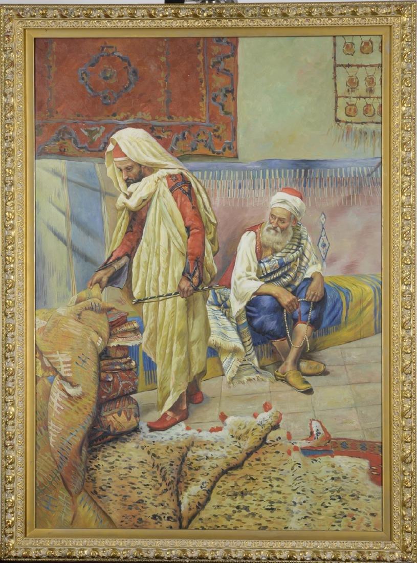 Carpet Merchants in Bazaar, Oil on Canvas 19th Century
