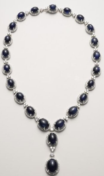 Sapphire Cabochon Midnight Blue Magnificent Necklace