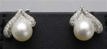 Pair of White Gold and Australian Pearl Earrings