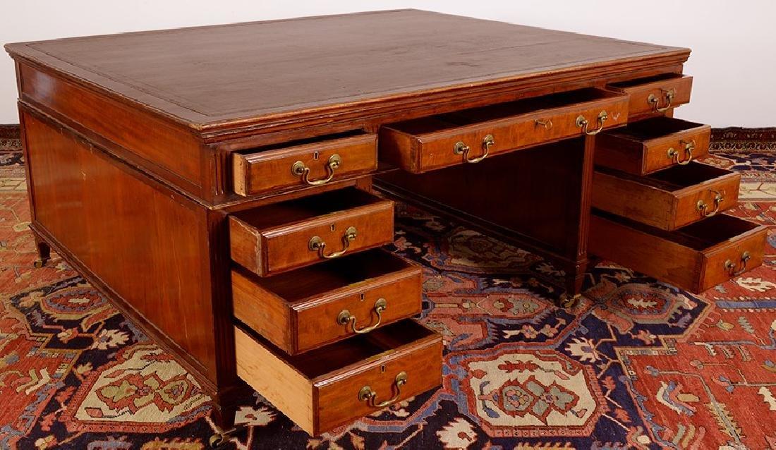 19th Century Partners Desk Bronze Handle Leather Top