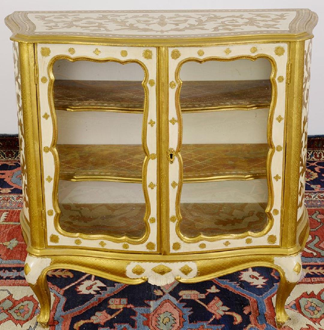 A Pair Venetian Rococo Style Glass Fronted Cabinets