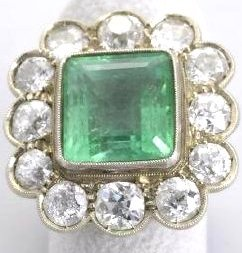Antique Columbian Emerald Ring with Diamonds