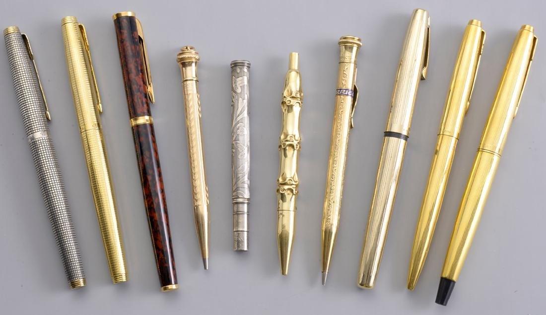 Pen Set: French Pens, American Pens, Gold, Silver