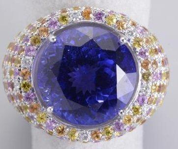 Majestic rare round huge Tanzanite 13.05 carats Ring