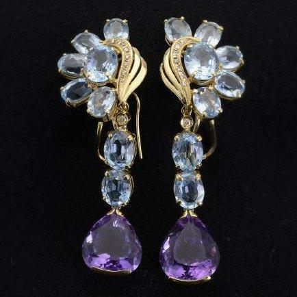 Amethyst, Aquamarine, Diamond Earrings