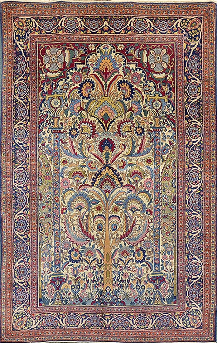 Rare Antique Persian TEHRAN Carpet (8' x 4.75')