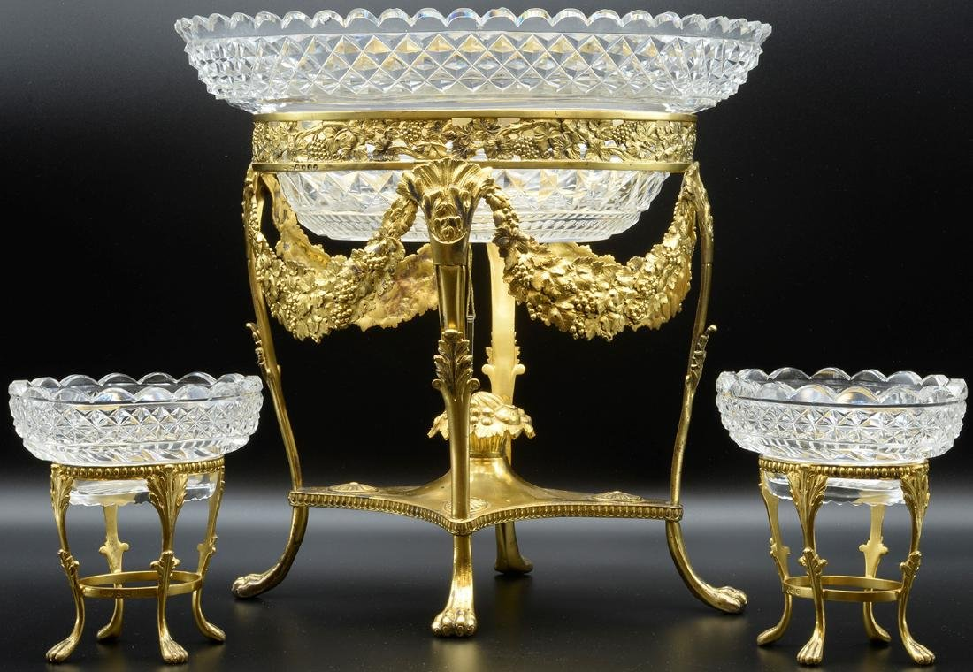 Antique Early19th Century Crystal  Silver Centerpiece