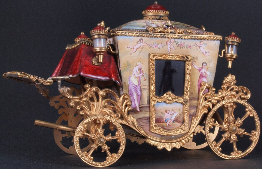 Original Antique Austrian Enamel Carriage