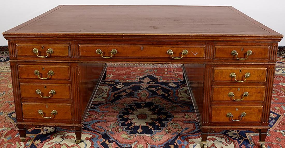 19th Century Partners Desk w/ Leather Top - 2