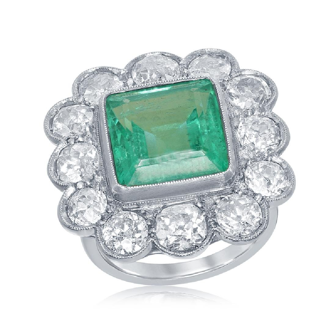 Antique Columbian Emerald Ring with Diamonds