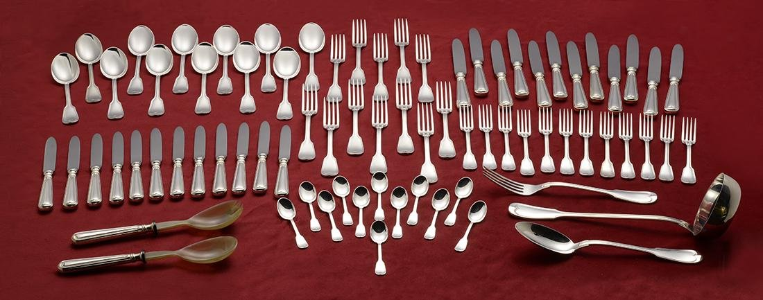 77 Piece Italian Silver Flatware Set
