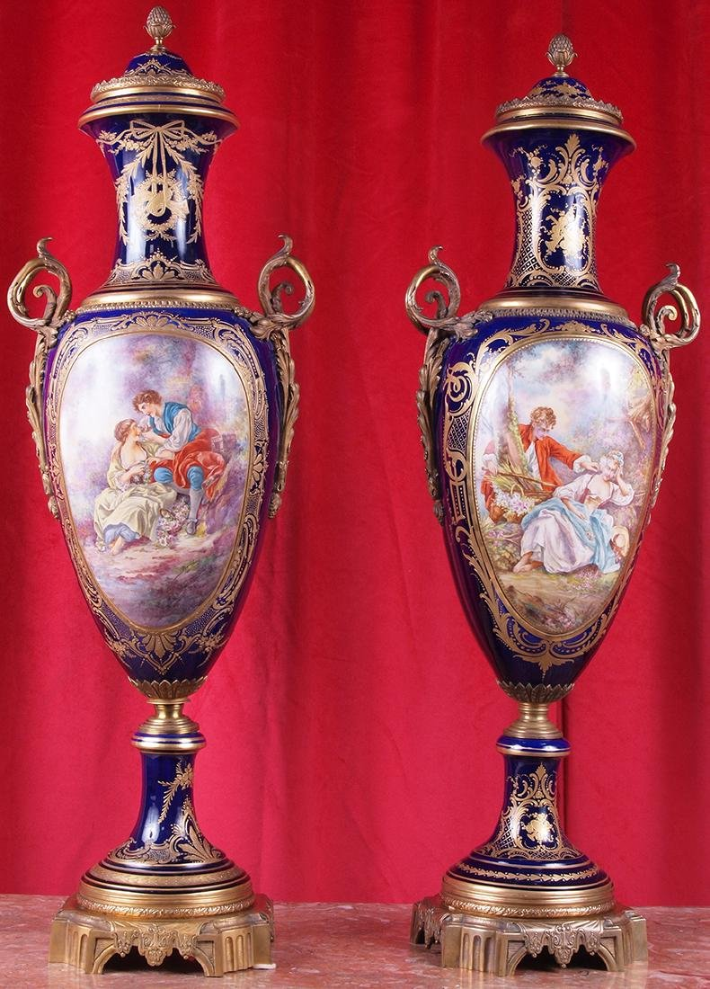 Pair of French Ormolu-Mounted Sevres Vases