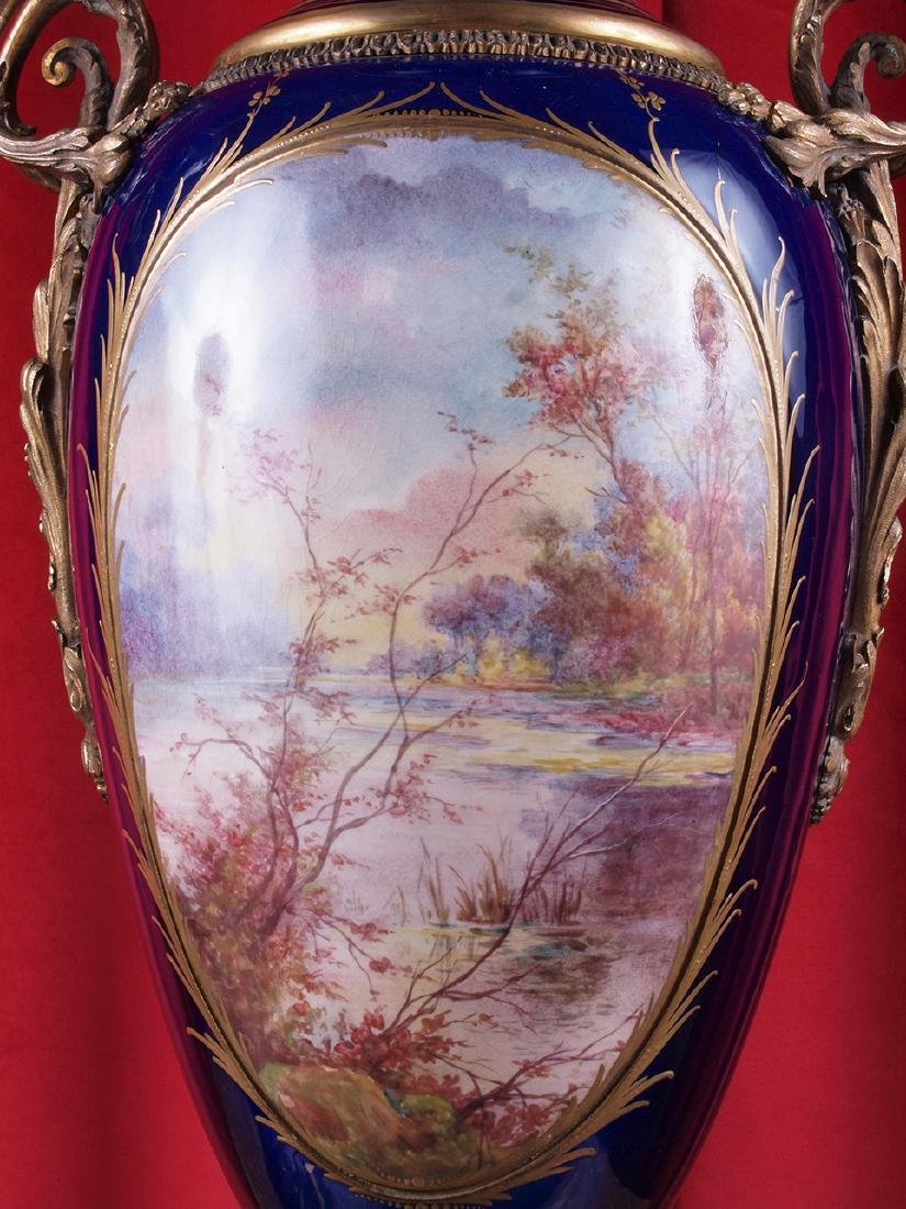 Pair of French Ormolu-Mounted Sevres Vases - 3