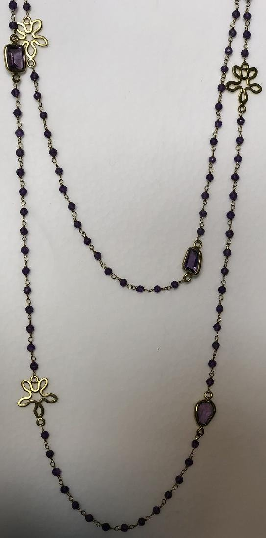 Amethyst Gilt Silver Necklace - 3
