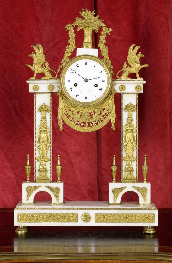 Antique Marble and Bronze Mantle Clock
