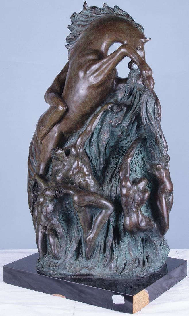 Patinated Bronze Horse Sculpture - 6
