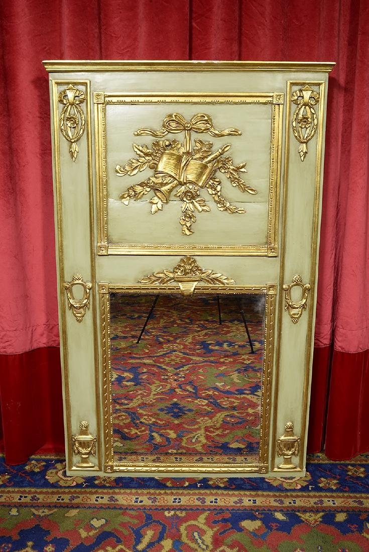 French Antique Trumeau with Mirror