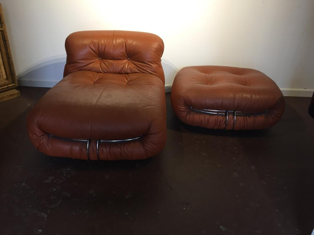 Afra & Tobia Scarpa Soriana lounge Chair & Ottoman