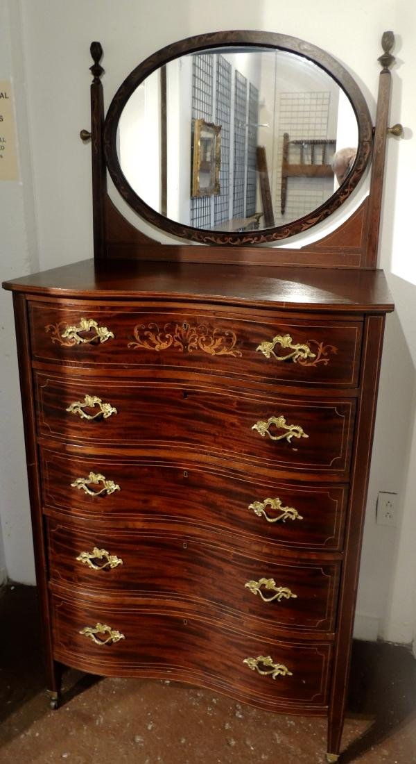Queen Anne Serpentine Mahogany Chest with Mirror