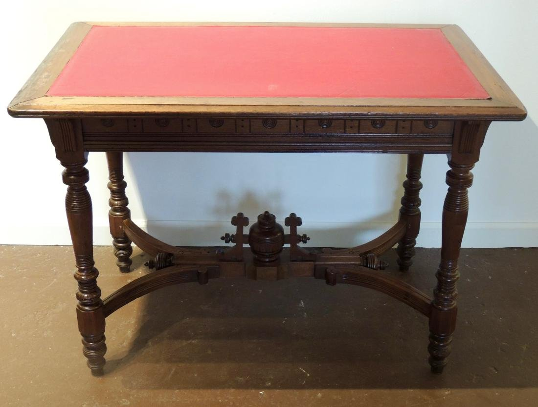 Renaissance Revival  Style Walnut Library Table