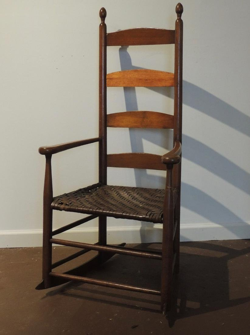 Shaker Wood Armed Rocking Chair with Rattan Seat