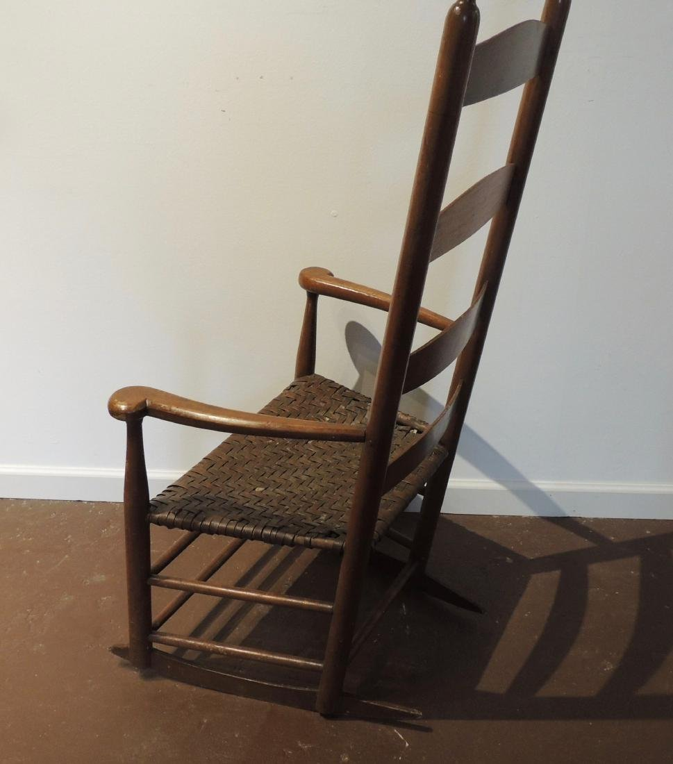 Shaker Wood Armed Rocking Chair with Rattan Seat - 4