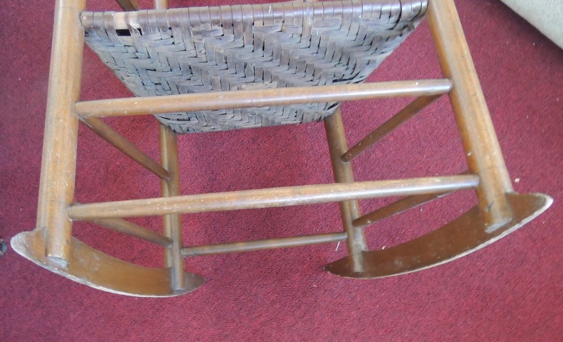 Shaker Wood Armed Rocking Chair with Rattan Seat - 6