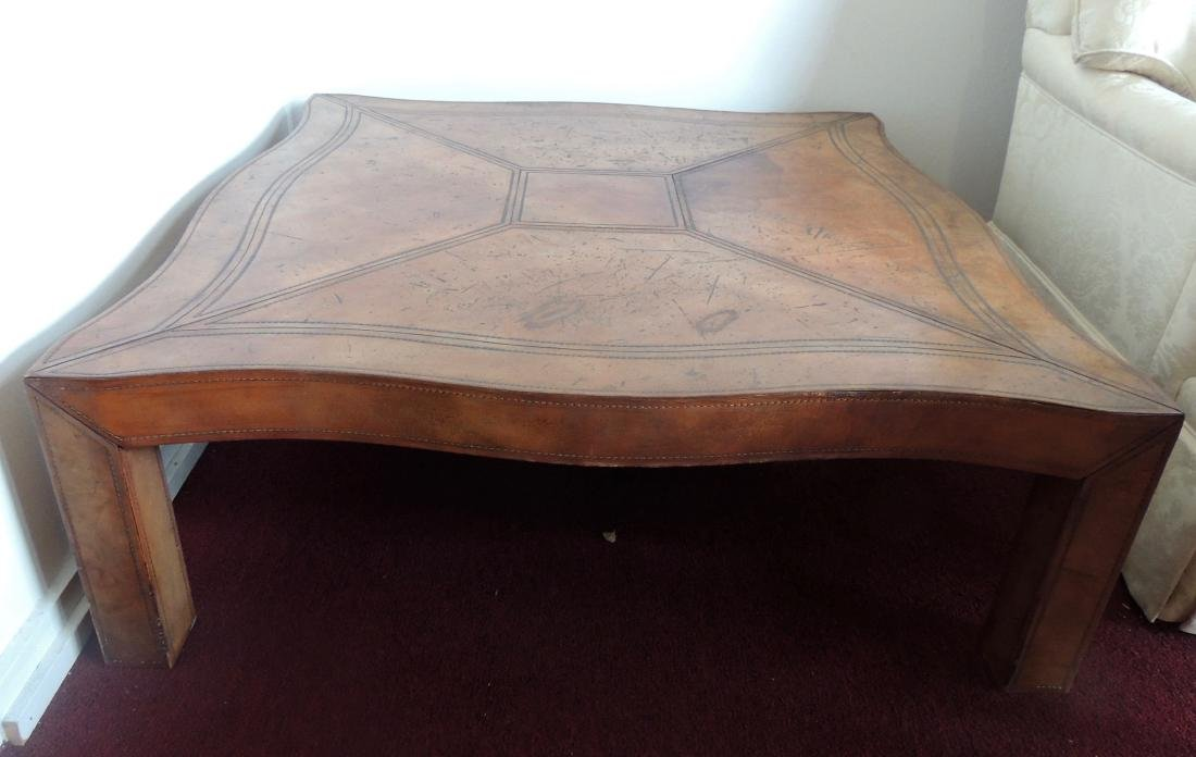 Large Square Leather Coffee Table with Top Stitching