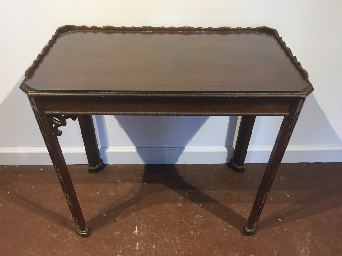 Asian Side Table with Glass Top