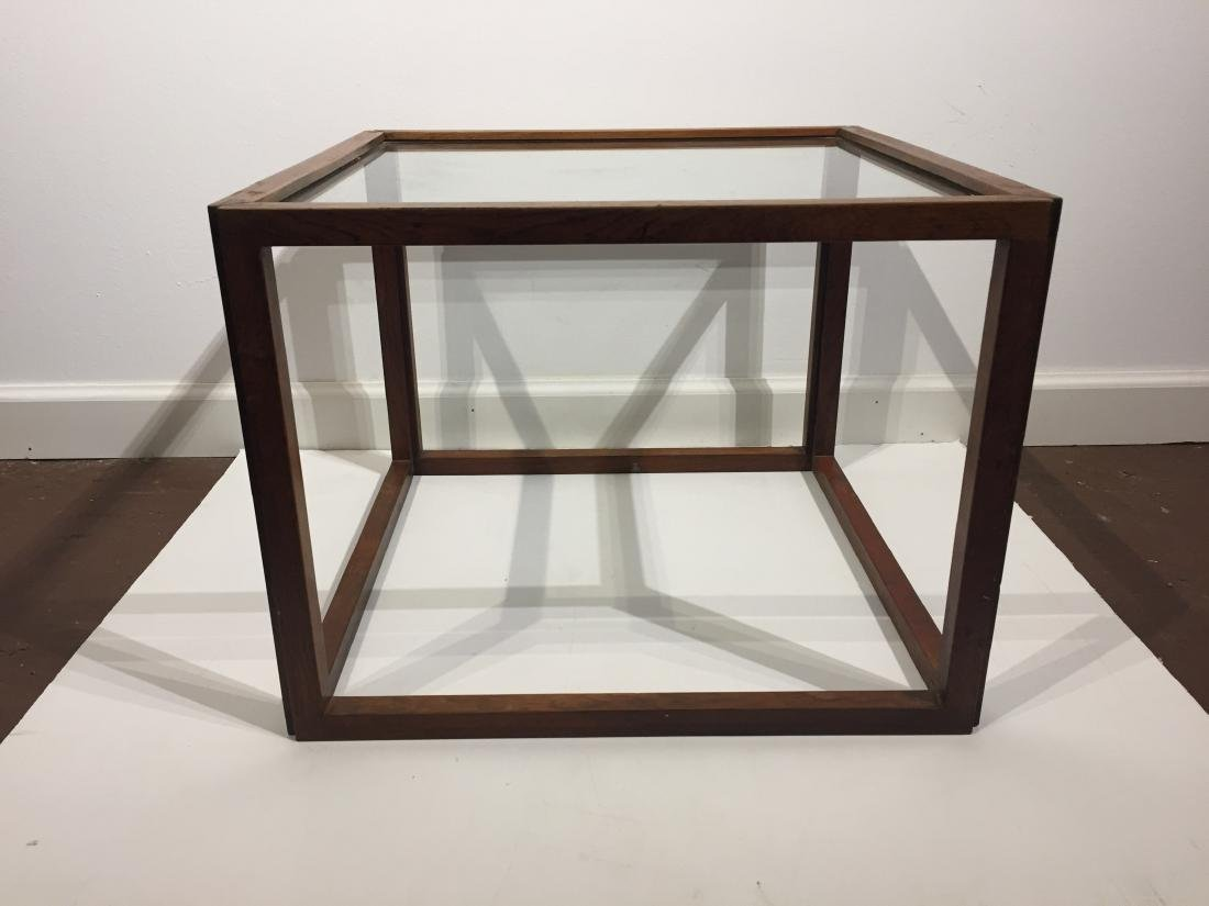 Pace Design Low Side Table with Glass Top