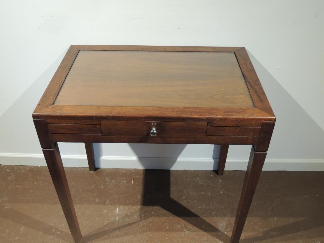 Vintage Oak Desk with Glass Top