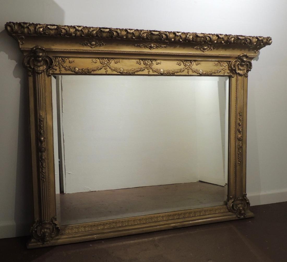 Antique Regency Style Giltwood Pier Overmantle Mirror