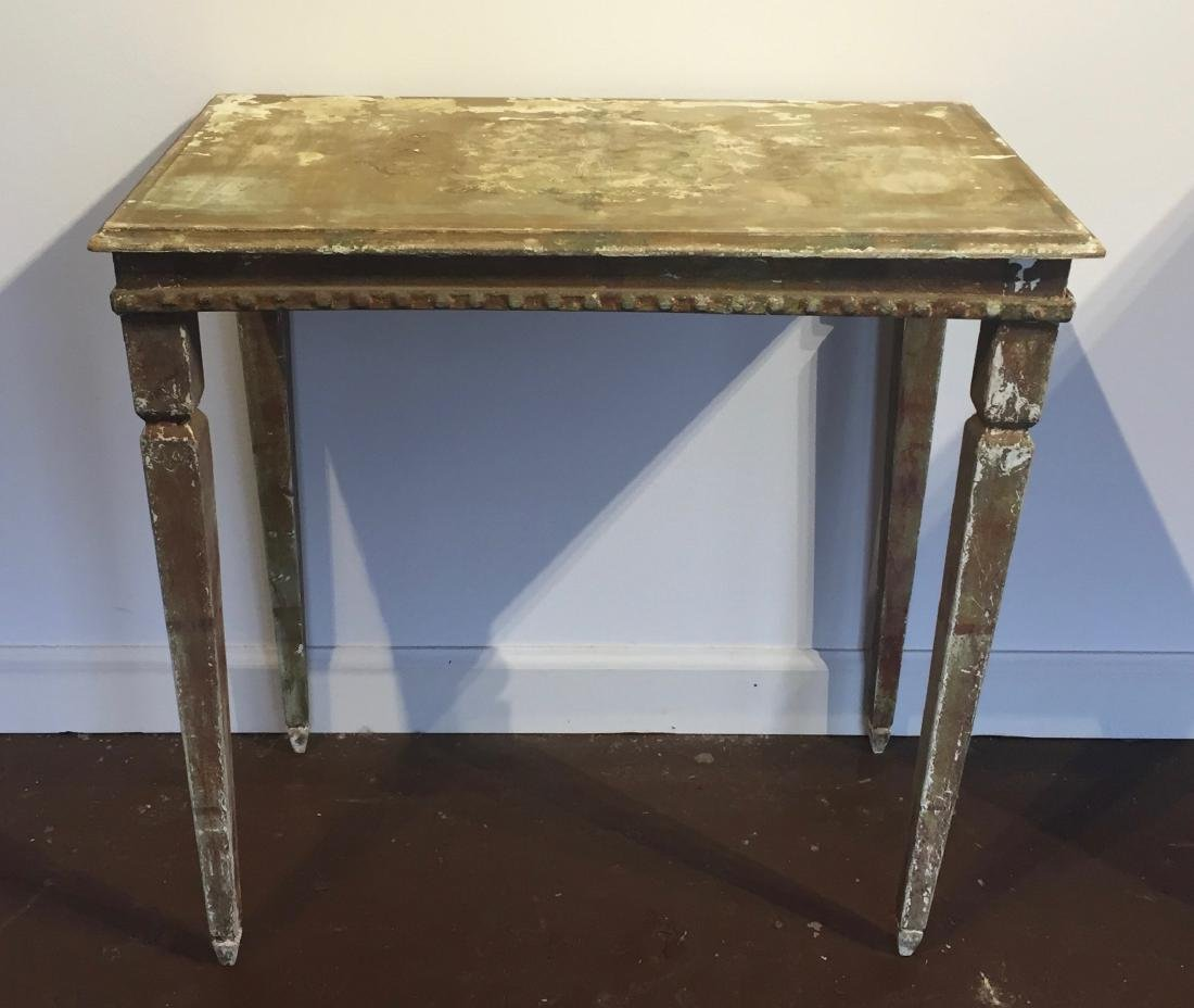 Distressed Green & White wood side table