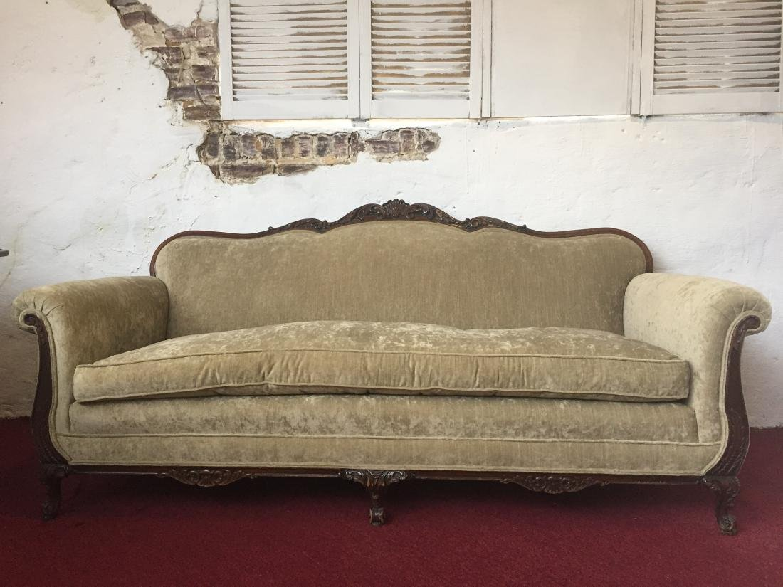 Antique Carved Wood Sage Velvet Sofa