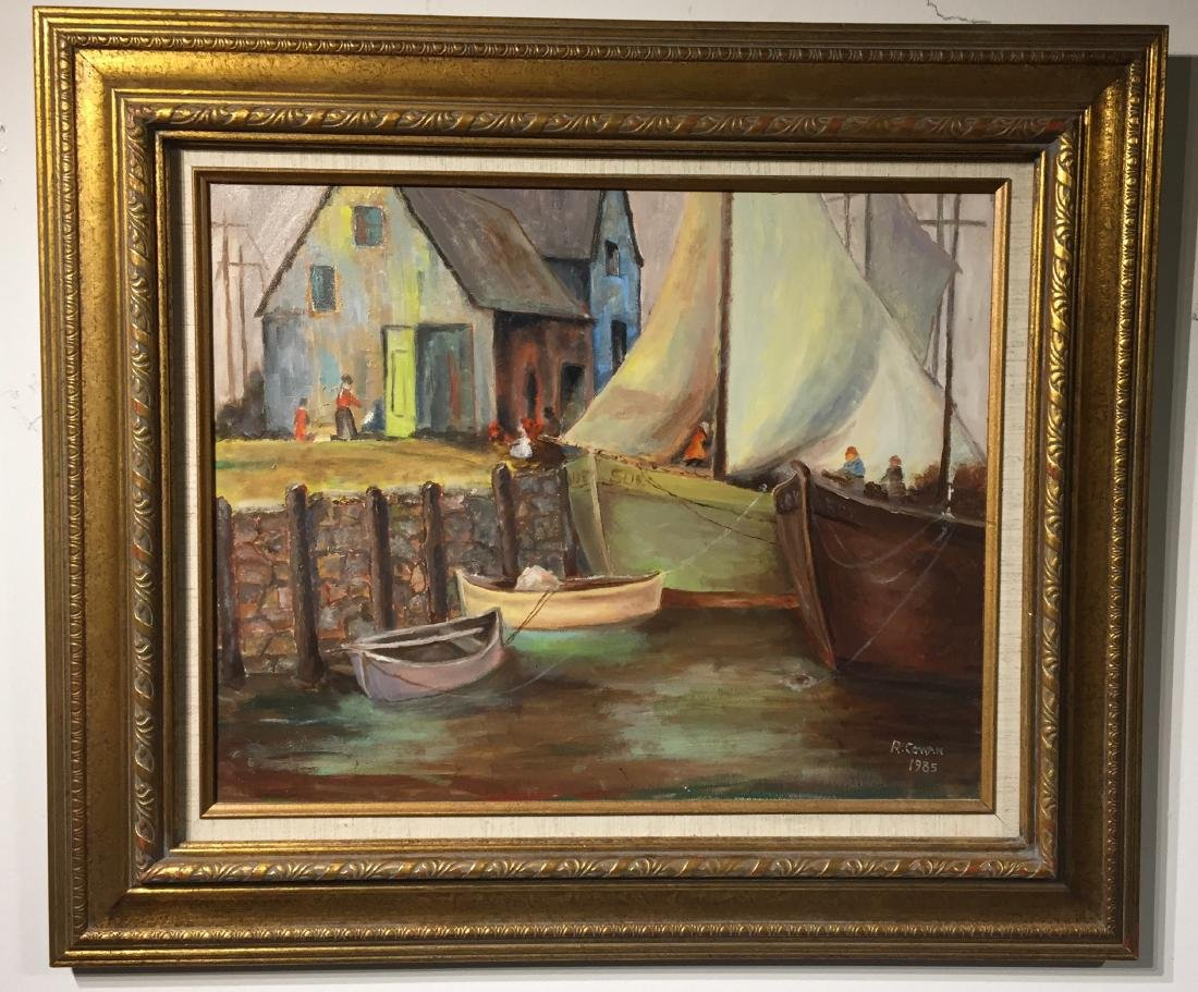 Harbor Oil Painting signed R Cowan