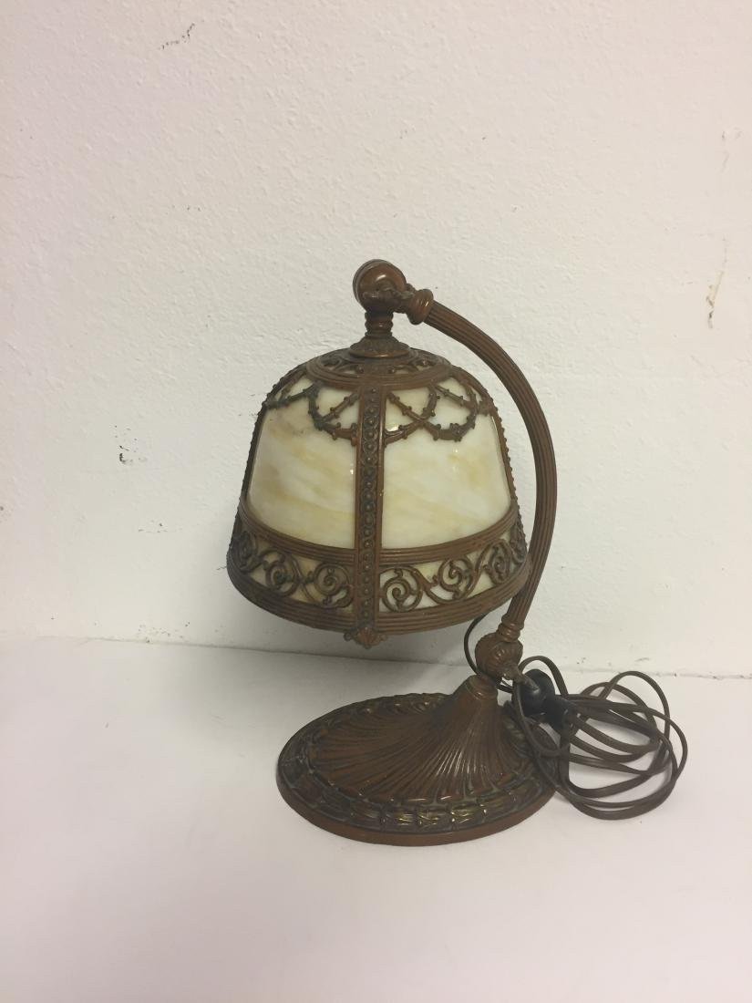 Desk Lamp Metal Antique with Stained Glass Top