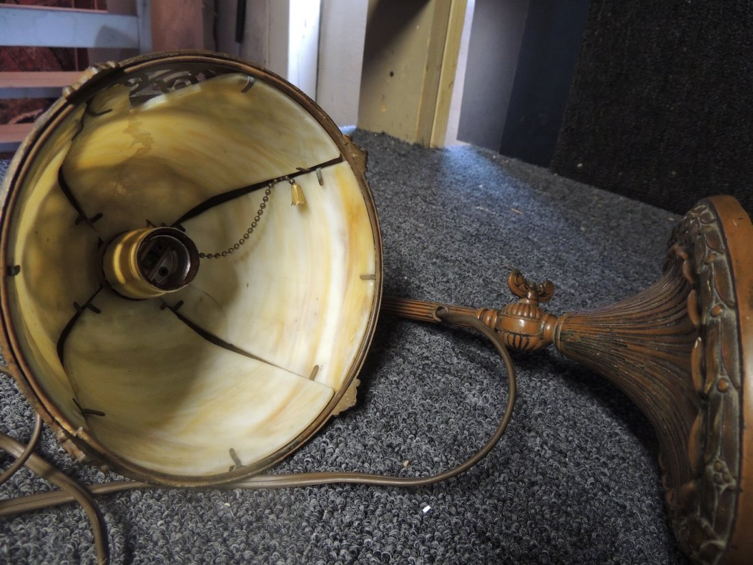 Desk Lamp Metal Antique with Stained Glass Top - 4