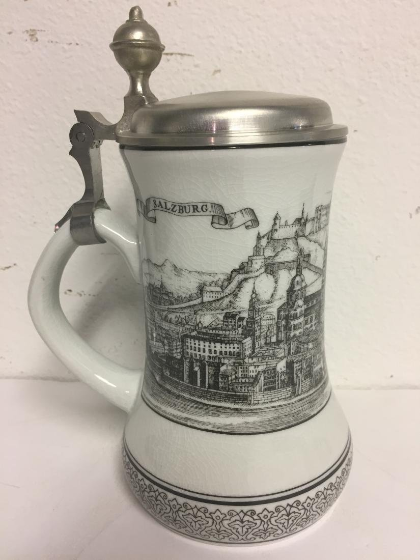 Austrian Fine Porcelain Stein with Pewter Lid